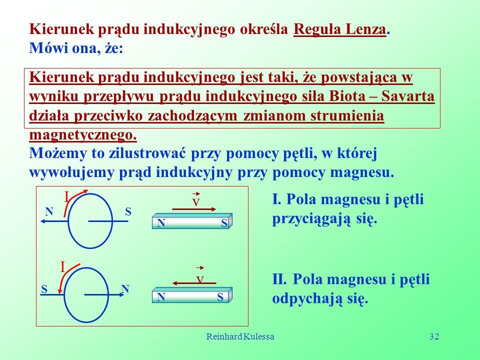 Kierunek prądu indukcyjnego określa Reguła Lenza. Mówi ona, że: