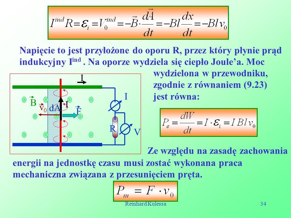 Napięcie to jest przyłożone do oporu R, przez który płynie prąd