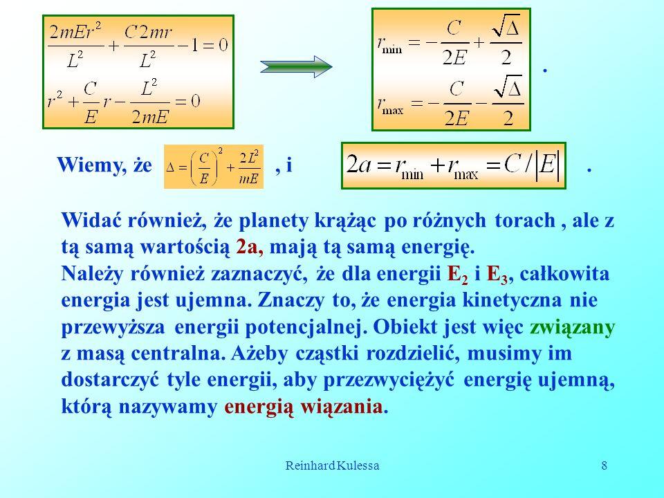 .Wiemy, że , i. . Widać również, że planety krążąc po różnych torach , ale z tą samą wartością 2a, mają tą samą energię.