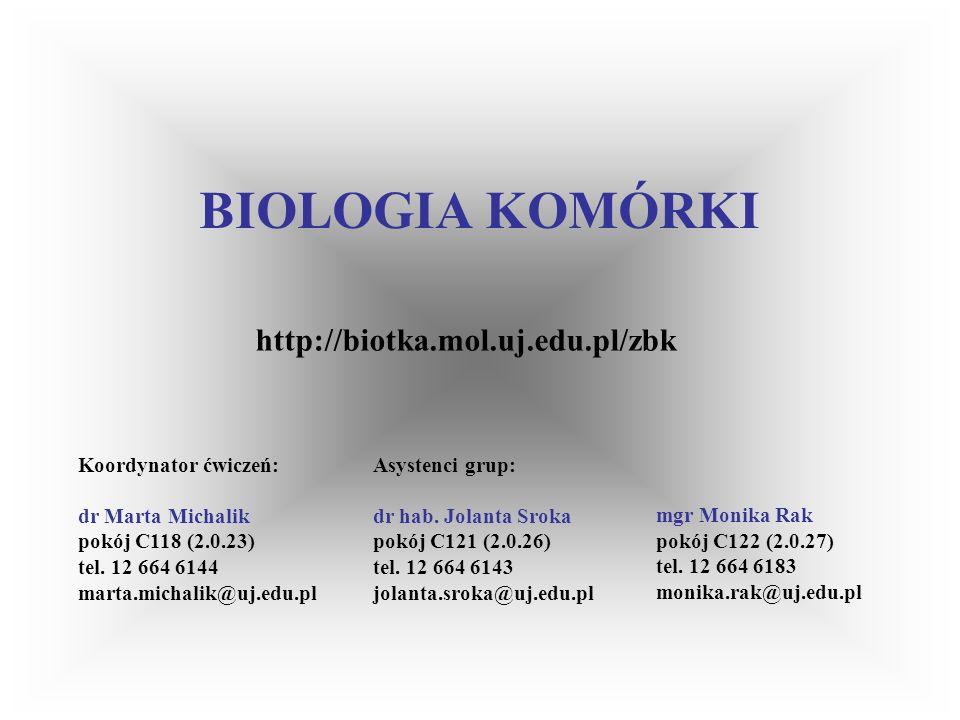BIOLOGIA KOMÓRKI http://biotka.mol.uj.edu.pl/zbk Koordynator ćwiczeń: