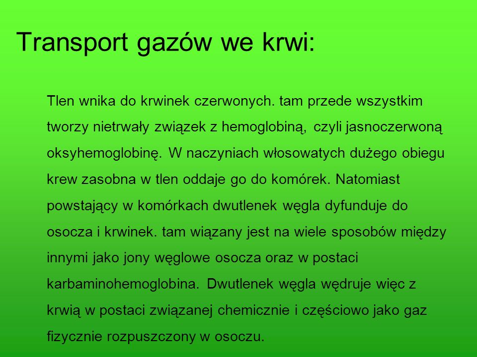 Transport gazów we krwi: