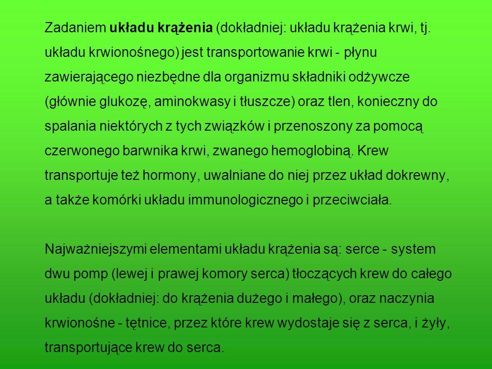 Zadaniem układu krążenia (dokładniej: układu krążenia krwi, tj