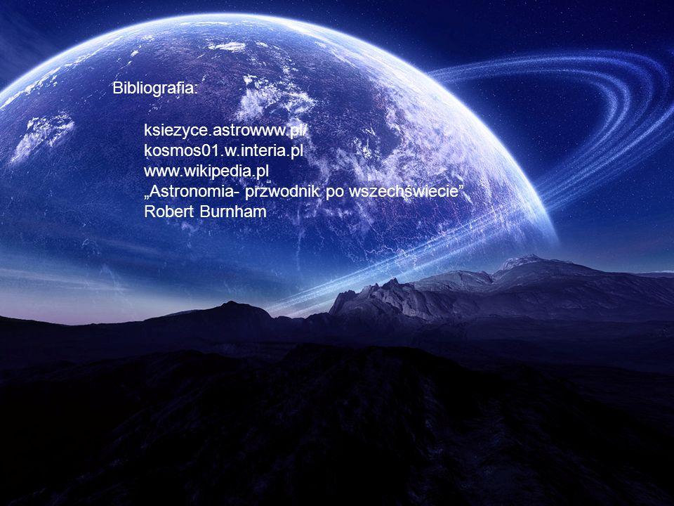 Bibliografia: ksiezyce.astrowww.pl/ kosmos01.w.interia.pl.