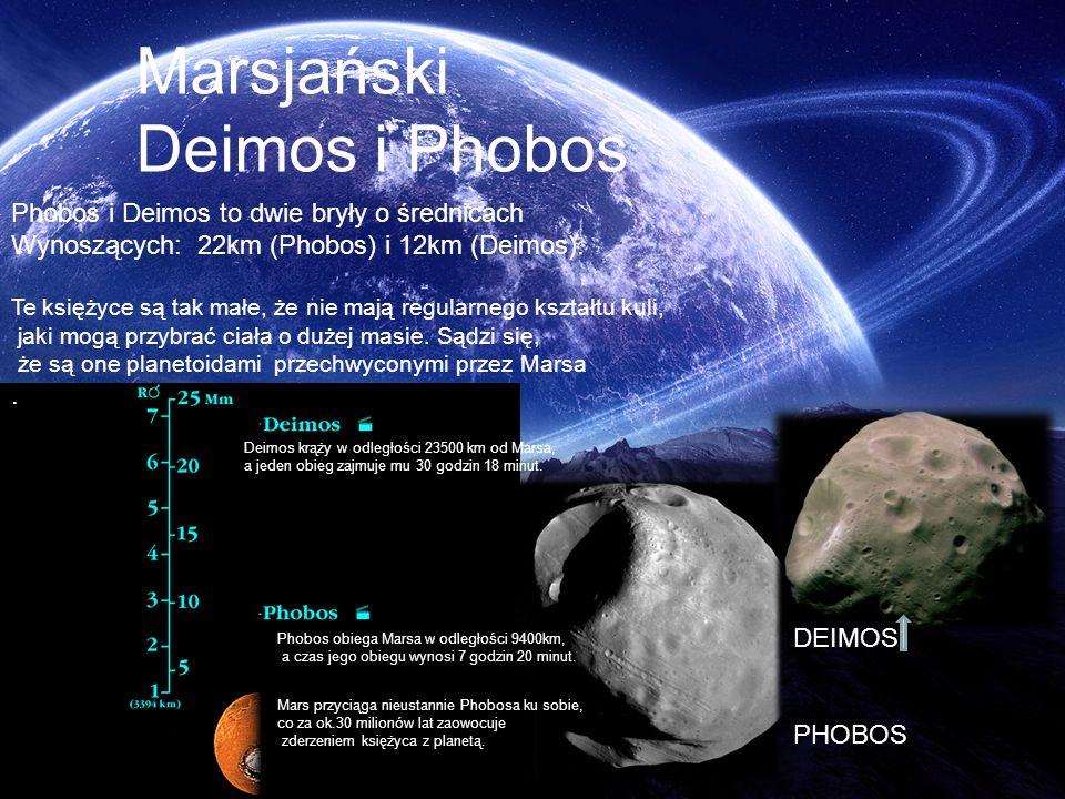 Marsjański Deimos i Phobos Phobos i Deimos to dwie bryły o średnicach