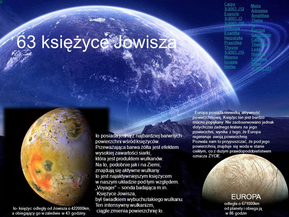 63 księżyce Jowisza EUROPA Io posiada jedną z najbardziej barwnych