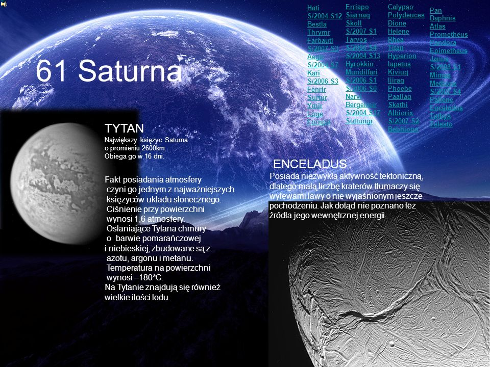 61 Saturna TYTAN ENCELADUS Fakt posiadania atmosfery