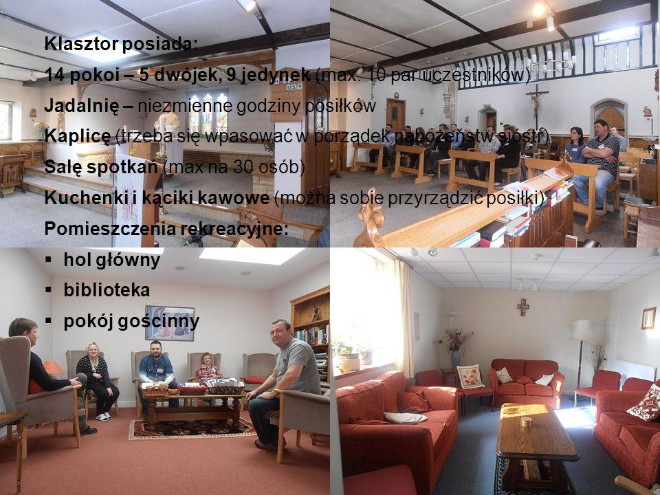 Klasztor posiada: 14 pokoi – 5 dwójek, 9 jedynek (max. 10 par uczestników) Jadalnię – niezmienne godziny posiłków.
