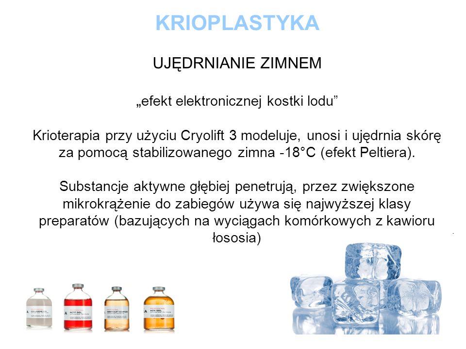 """KRIOPLASTYKA UJĘDRNIANIE ZIMNEM """"efekt elektronicznej kostki lodu Krioterapia przy użyciu Cryolift 3 modeluje, unosi i ujędrnia skórę za pomocą stabilizowanego zimna -18°C (efekt Peltiera)."""