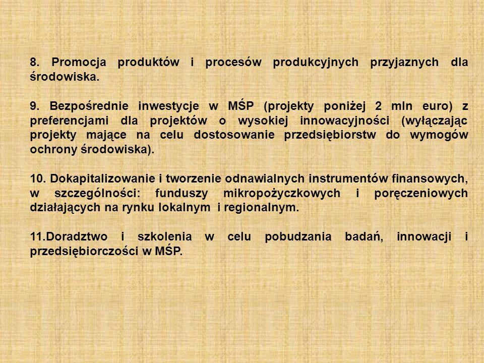 8. Promocja produktów i procesów produkcyjnych przyjaznych dla środowiska.