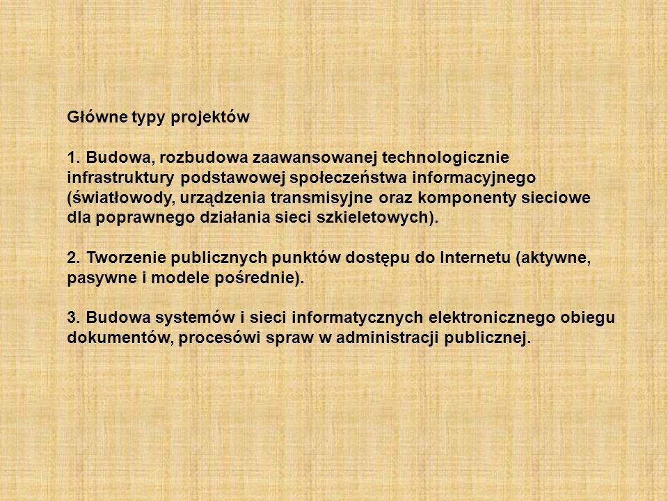 Główne typy projektów