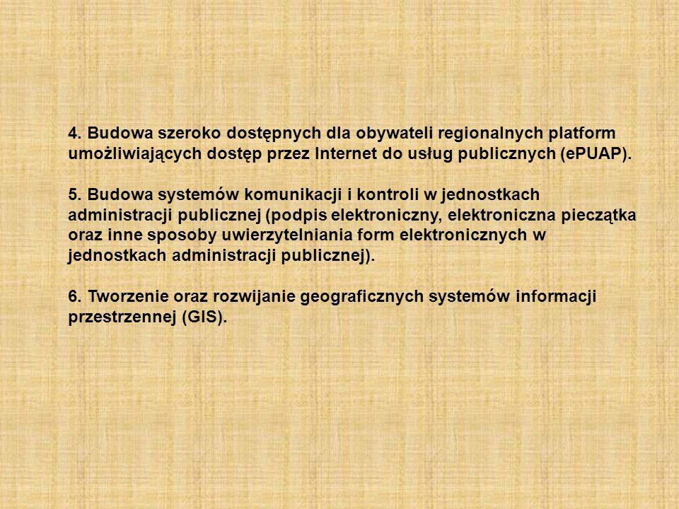4. Budowa szeroko dostępnych dla obywateli regionalnych platform umożliwiających dostęp przez Internet do usług publicznych (ePUAP).
