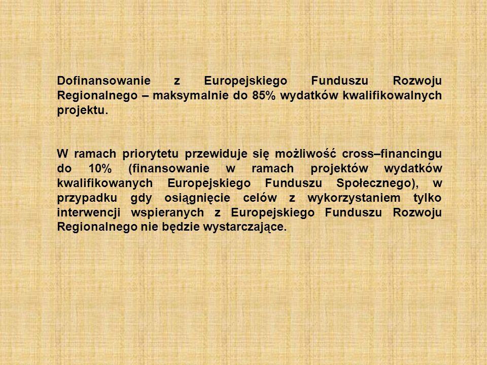 Dofinansowanie z Europejskiego Funduszu Rozwoju Regionalnego – maksymalnie do 85% wydatków kwalifikowalnych projektu.