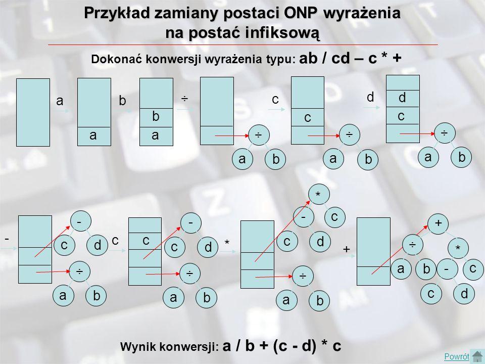 Przykład zamiany postaci ONP wyrażenia na postać infiksową