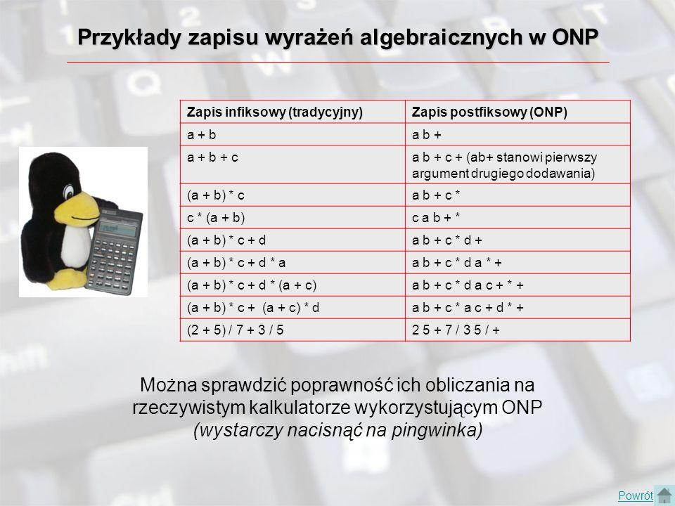 Przykłady zapisu wyrażeń algebraicznych w ONP