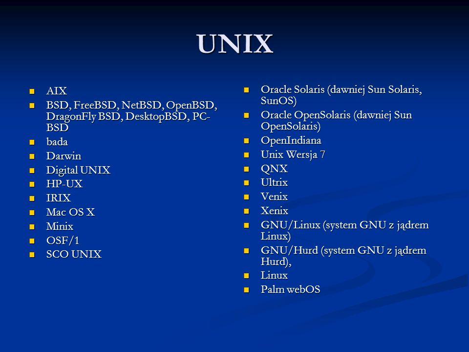 UNIX AIX Oracle Solaris (dawniej Sun Solaris, SunOS)