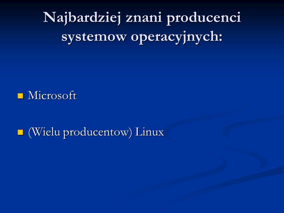 Najbardziej znani producenci systemow operacyjnych: