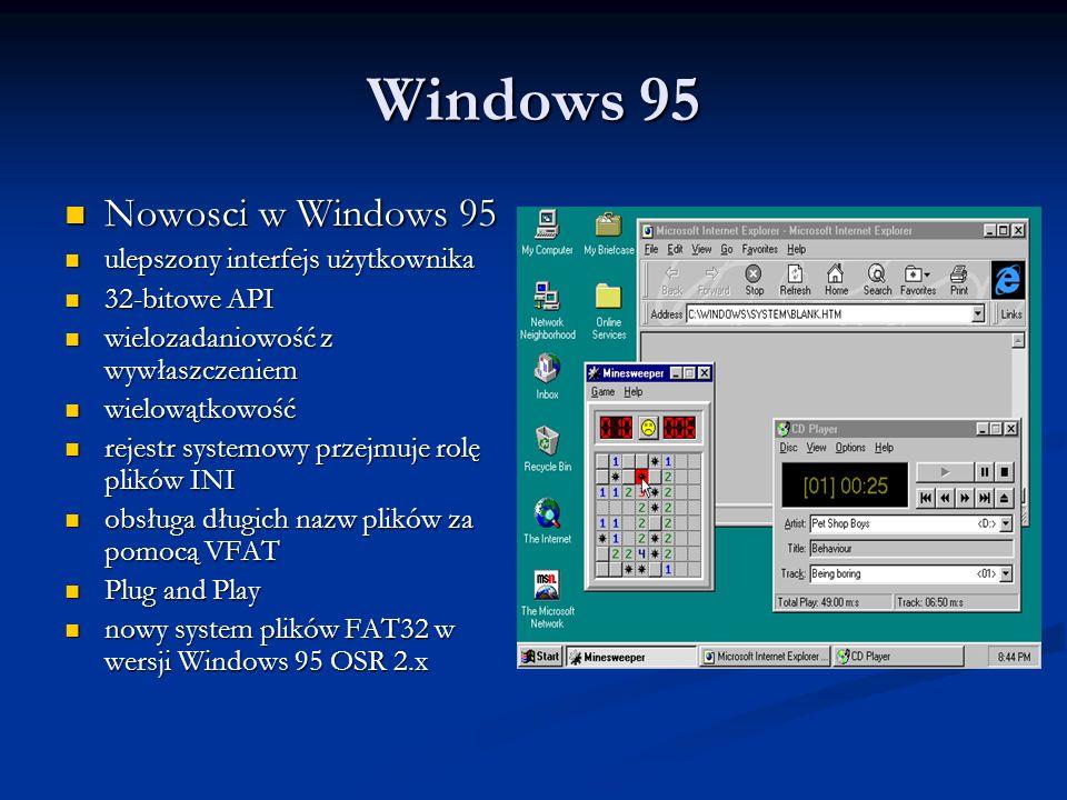 Windows 95 Nowosci w Windows 95 ulepszony interfejs użytkownika