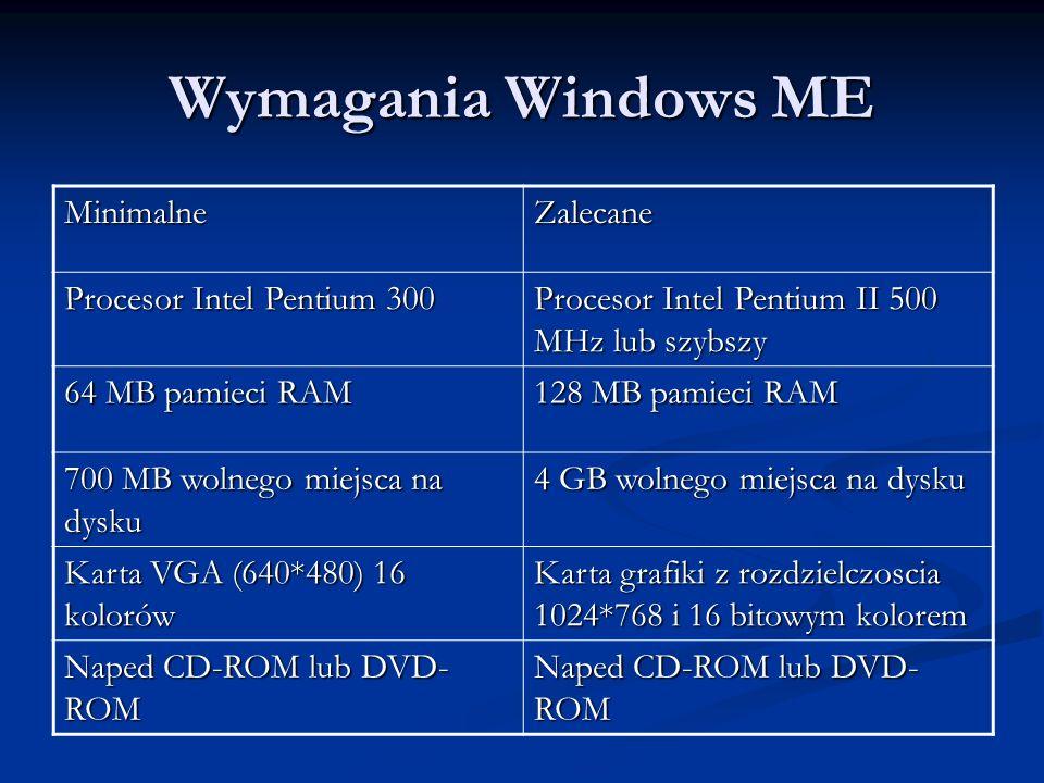 Wymagania Windows ME Minimalne Zalecane Procesor Intel Pentium 300