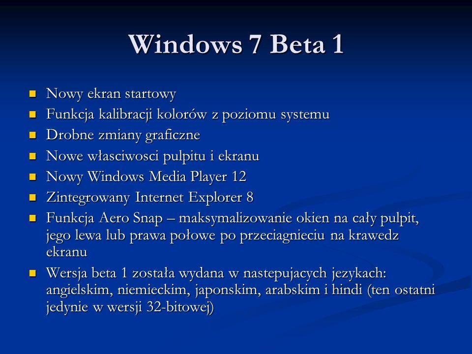 Windows 7 Beta 1 Nowy ekran startowy
