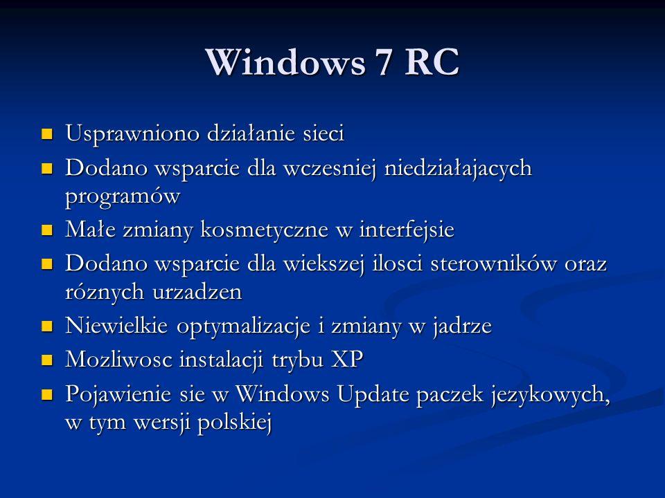 Windows 7 RC Usprawniono działanie sieci