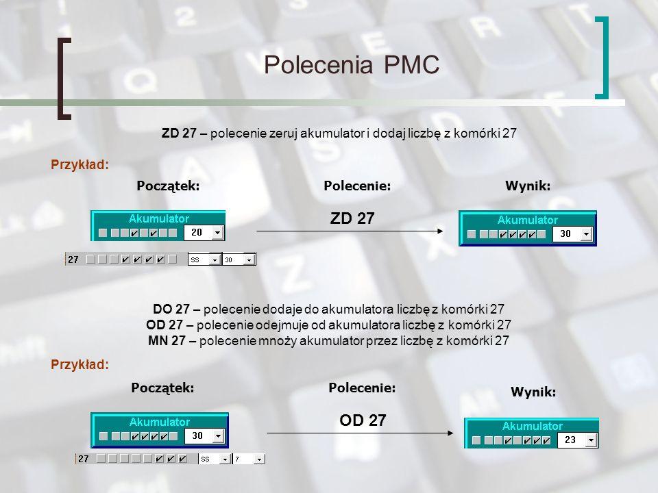 Polecenia PMC ZD 27 – polecenie zeruj akumulator i dodaj liczbę z komórki 27. Przykład: Początek:
