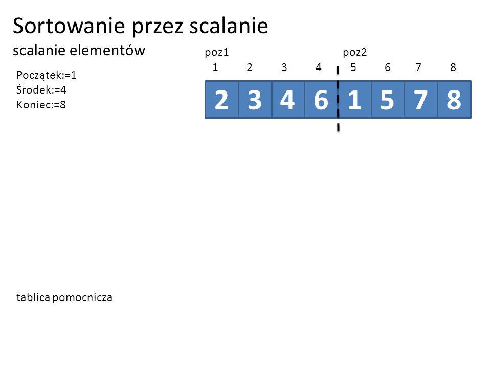 2 3 4 6 1 5 7 8 Sortowanie przez scalanie scalanie elementów poz1 poz2