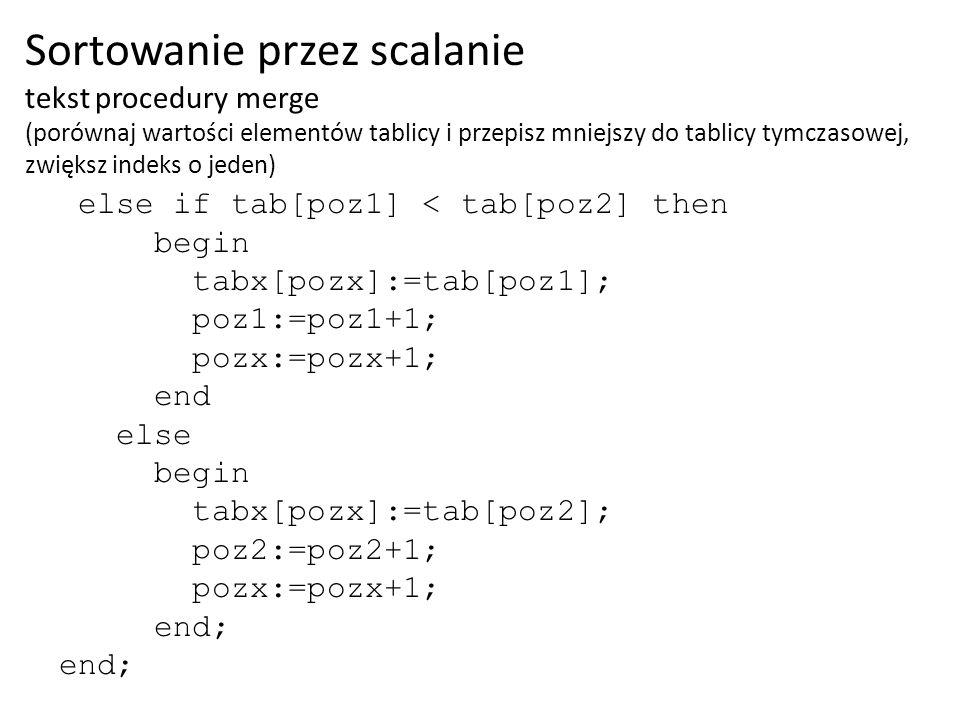 Sortowanie przez scalanie tekst procedury merge