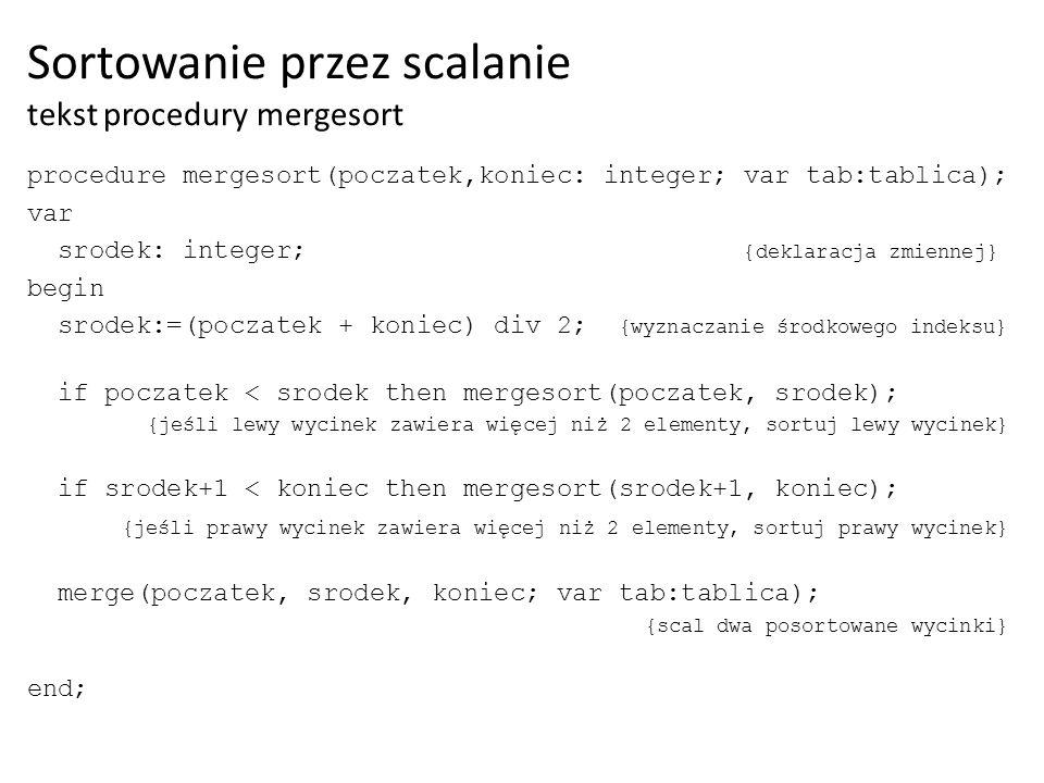 Sortowanie przez scalanie tekst procedury mergesort