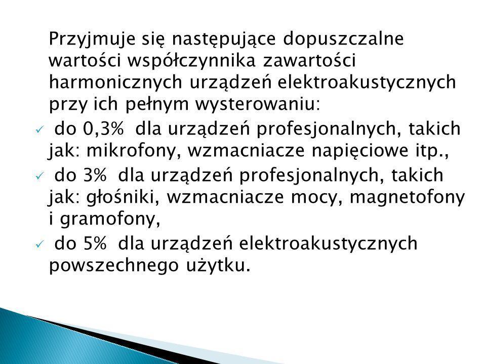 Przyjmuje się następujące dopuszczalne wartości współczynnika zawartości harmonicznych urządzeń elektroakustycznych przy ich pełnym wysterowaniu:
