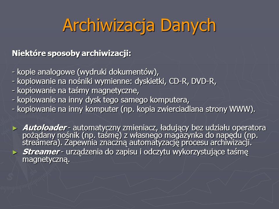 Archiwizacja Danych Niektóre sposoby archiwizacji: