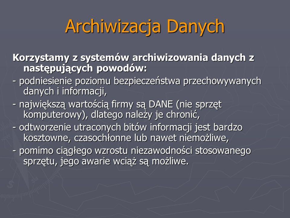 Archiwizacja Danych Korzystamy z systemów archiwizowania danych z następujących powodów: