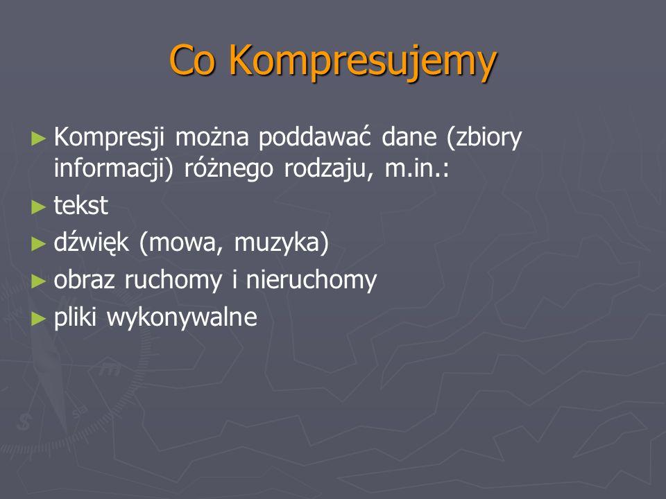 Co Kompresujemy Kompresji można poddawać dane (zbiory informacji) różnego rodzaju, m.in.: tekst. dźwięk (mowa, muzyka)