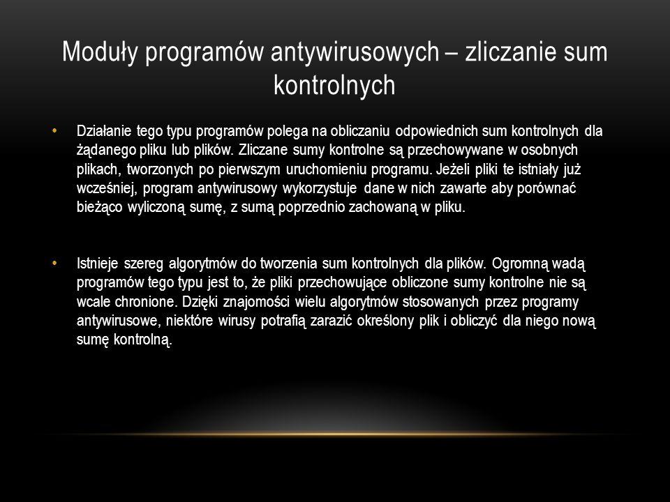 Moduły programów antywirusowych – zliczanie sum kontrolnych