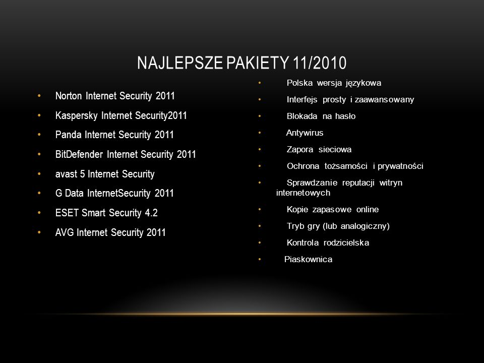 NAJLEPSZE PAKIETY 11/2010 Norton Internet Security 2011