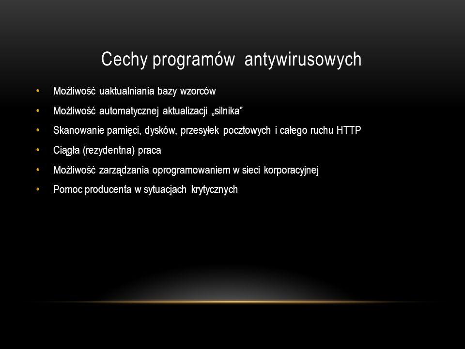 Cechy programów antywirusowych
