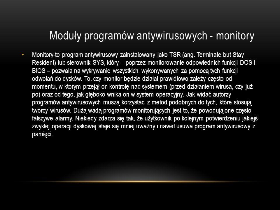 Moduły programów antywirusowych - monitory