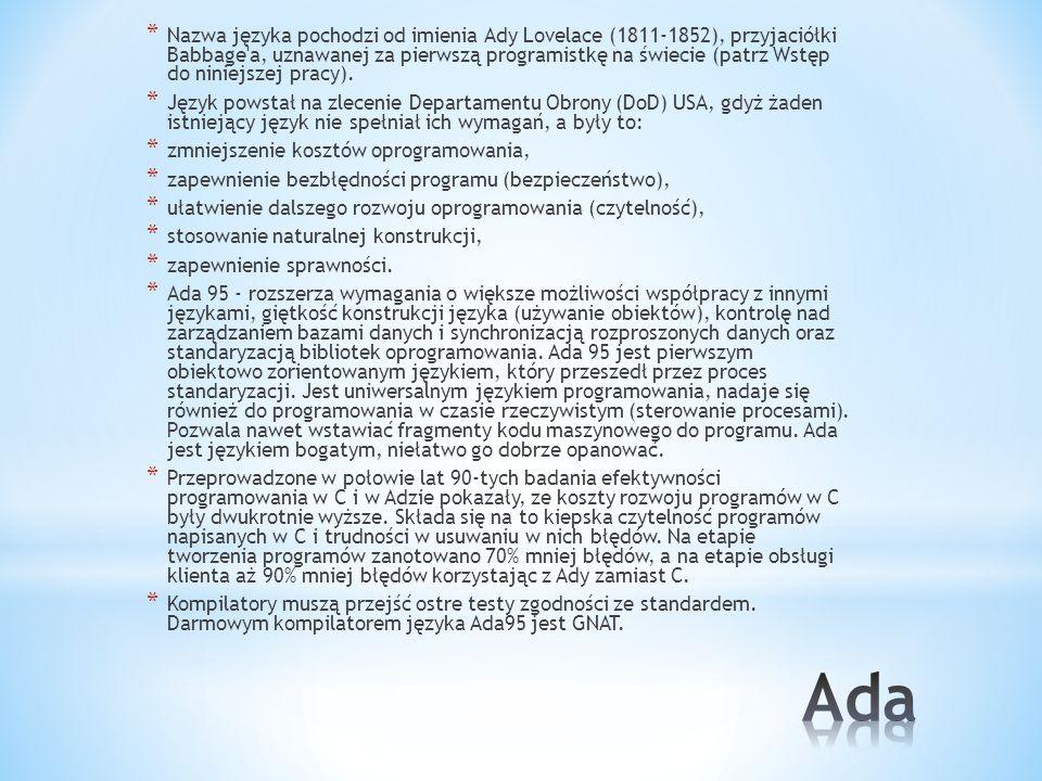 Nazwa języka pochodzi od imienia Ady Lovelace (1811-1852), przyjaciółki Babbage a, uznawanej za pierwszą programistkę na świecie (patrz Wstęp do niniejszej pracy).