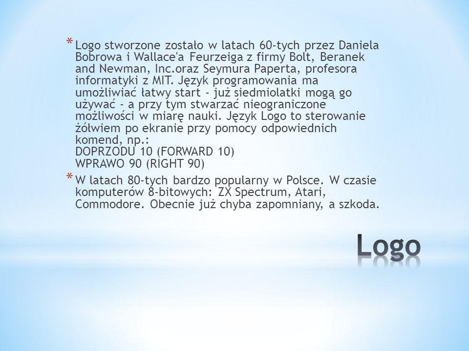 Logo stworzone zostało w latach 60-tych przez Daniela Bobrowa i Wallace a Feurzeiga z firmy Bolt, Beranek and Newman, Inc.oraz Seymura Paperta, profesora informatyki z MIT. Język programowania ma umożliwiać łatwy start - już siedmiolatki mogą go używać - a przy tym stwarzać nieograniczone możliwości w miarę nauki. Język Logo to sterowanie żółwiem po ekranie przy pomocy odpowiednich komend, np.: DOPRZODU 10 (FORWARD 10) WPRAWO 90 (RIGHT 90)