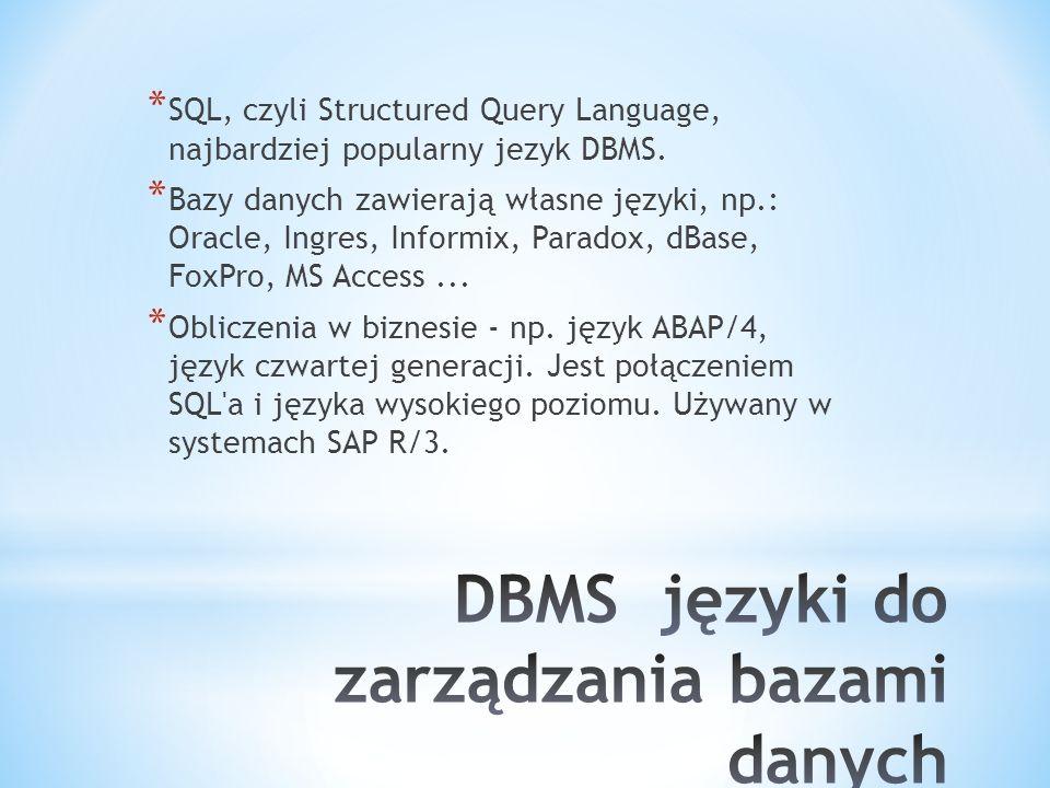 DBMS języki do zarządzania bazami danych