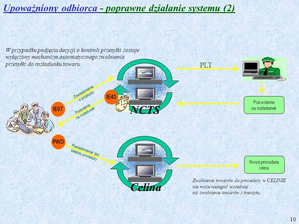 NCTS Celina Upoważniony odbiorca - poprawne działanie systemu (2) PLT