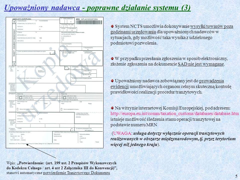 Upoważniony nadawca - poprawne działanie systemu (3)
