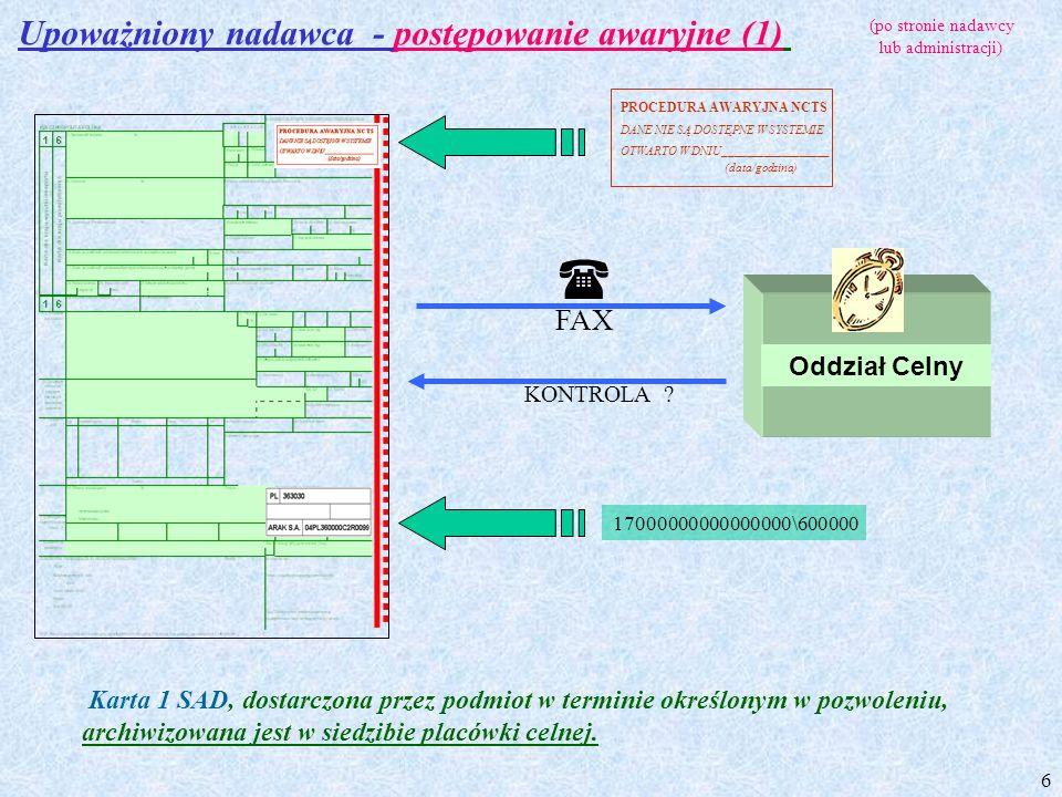  Upoważniony nadawca - postępowanie awaryjne (1) FAX Oddział Celny