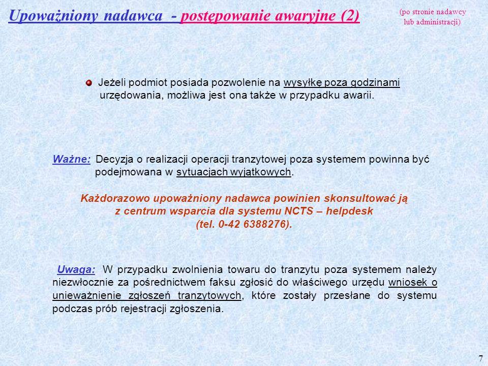 Upoważniony nadawca - postępowanie awaryjne (2)
