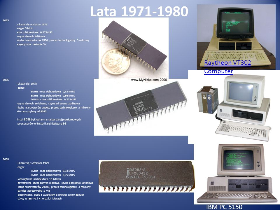 Lata 1971-1980 Raytheon VT302 Computer Pierwszy IBM PC IBM PC 5150
