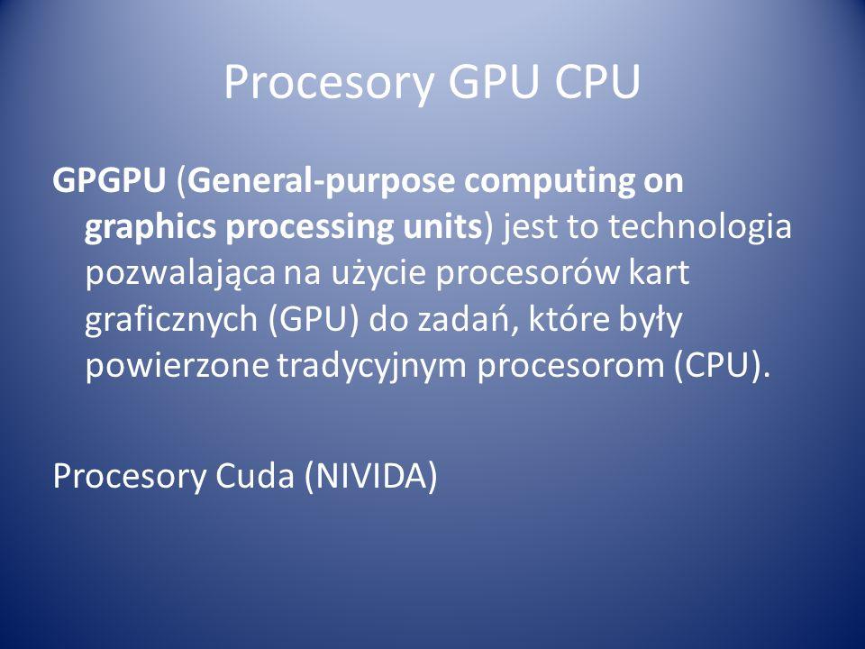 Procesory GPU CPU