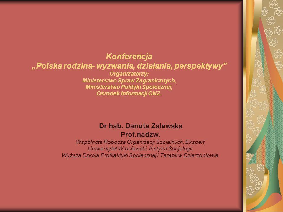 """Konferencja """"Polska rodzina- wyzwania, działania, perspektywy Organizatorzy: Ministerstwo Spraw Zagranicznych, Ministerstwo Polityki Społecznej, Ośrodek Informacji ONZ."""