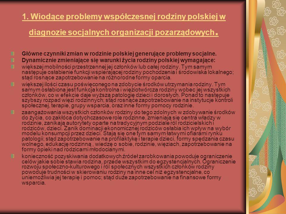 1. Wiodące problemy współczesnej rodziny polskiej w diagnozie socjalnych organizacji pozarządowych.