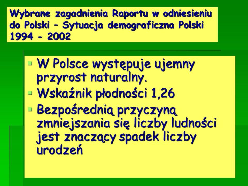 W Polsce występuje ujemny przyrost naturalny. Wskaźnik płodności 1,26