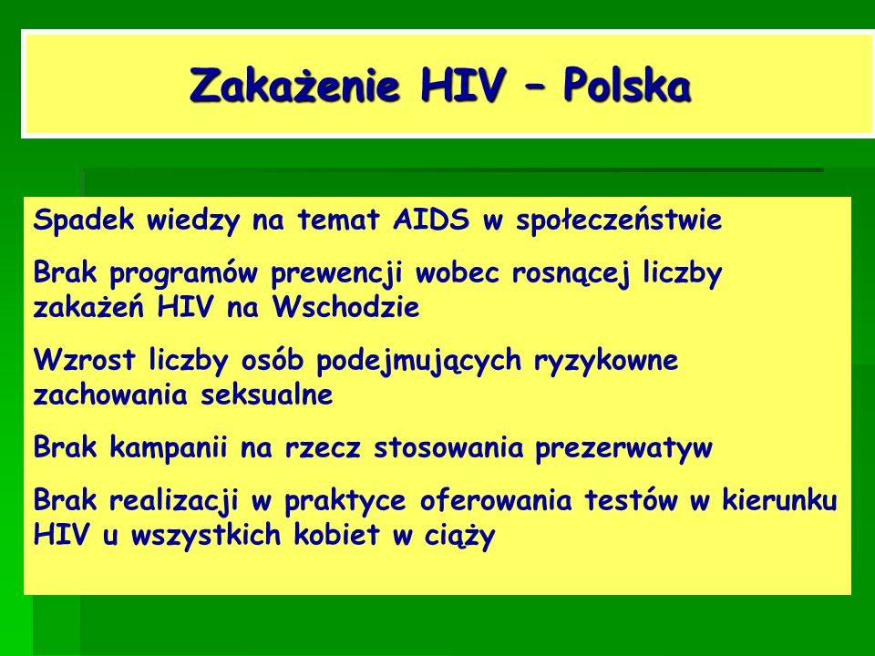 Zakażenie HIV – Polska Spadek wiedzy na temat AIDS w społeczeństwie