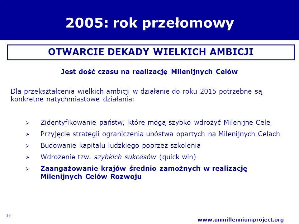 2005: rok przełomowy OTWARCIE DEKADY WIELKICH AMBICJI